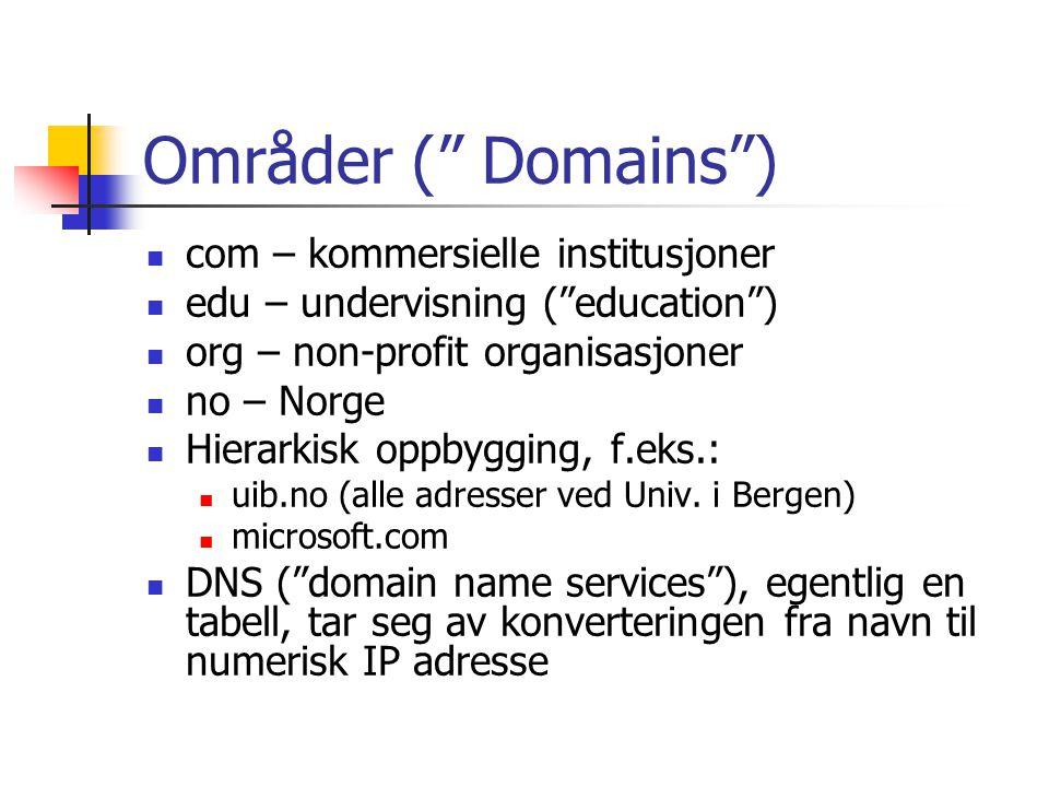 Områder ( Domains ) com – kommersielle institusjoner edu – undervisning ( education ) org – non-profit organisasjoner no – Norge Hierarkisk oppbygging, f.eks.: uib.no (alle adresser ved Univ.