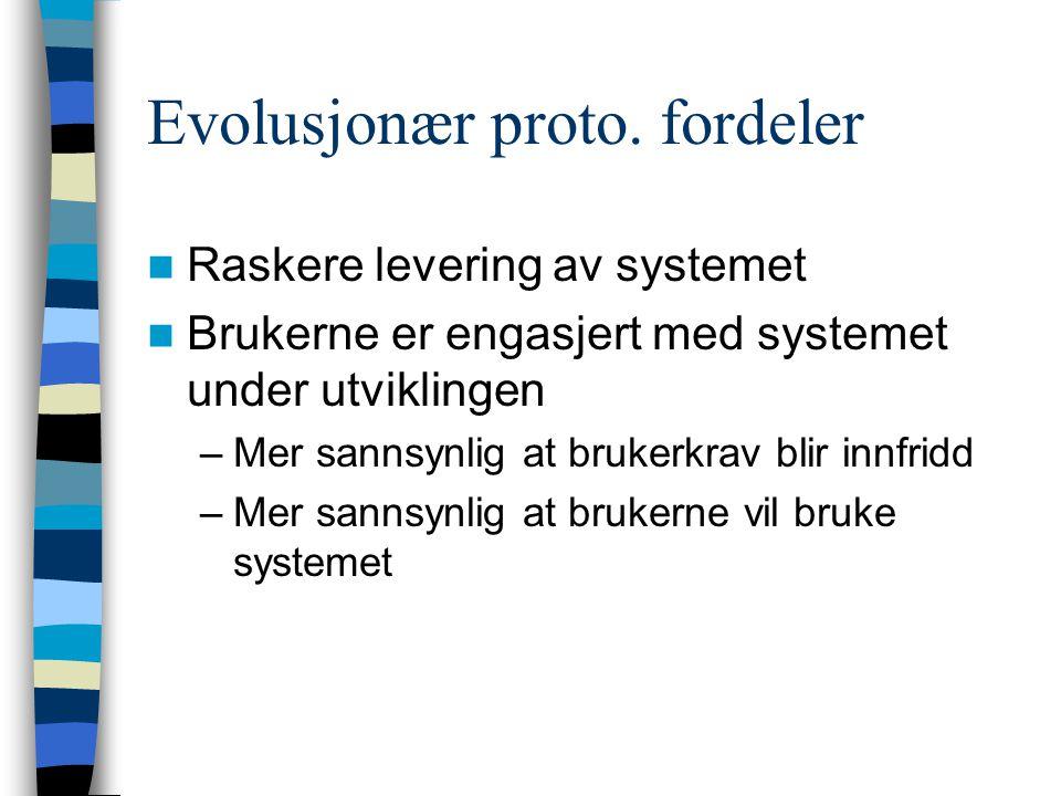 Evolusjonær proto.ulemper Administrasjon. Fossefallmetoden som er standard passer ikke.