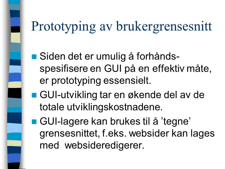 Prototyping av brukergrensesnitt Siden det er umulig å forhånds- spesifisere en GUI på en effektiv måte, er prototyping essensielt.
