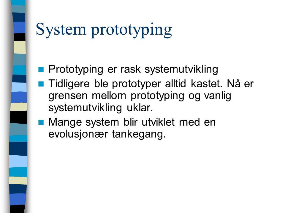 Bruk av prototyper Hovedbruken er for å hjelpe brukere og utviklere til å forstå systemkravene: –kravinnsamling –kravvalidering Prototyping er også en risko- reduseringsaktivitet for kravspesifikasjonen.