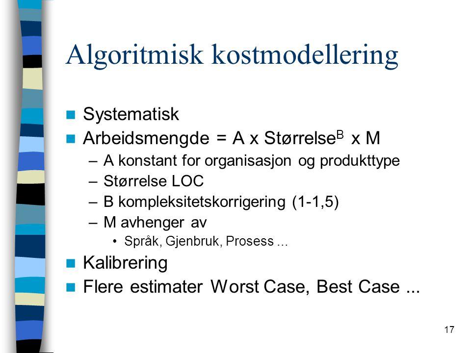 17 Algoritmisk kostmodellering Systematisk Arbeidsmengde = A x Størrelse B x M –A konstant for organisasjon og produkttype –Størrelse LOC –B kompleksi