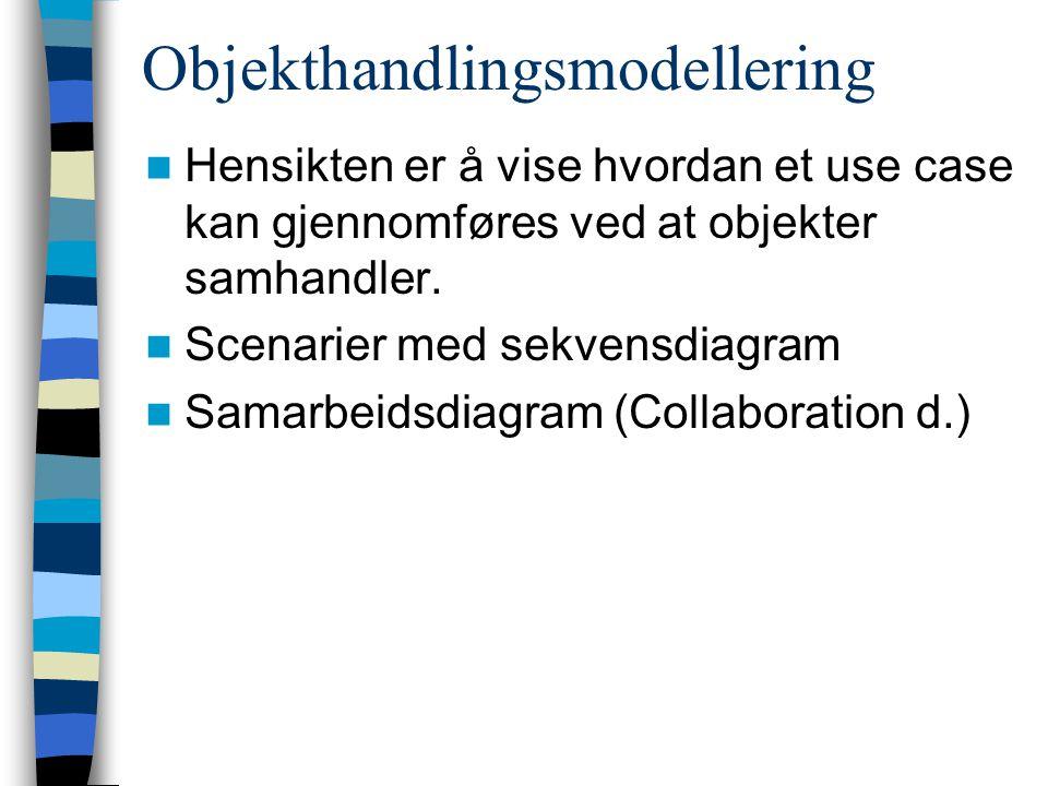 Objekthandlingsmodellering Hensikten er å vise hvordan et use case kan gjennomføres ved at objekter samhandler.
