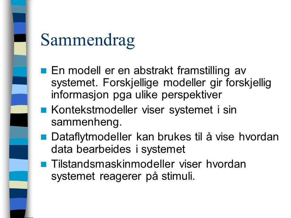 Sammendrag En modell er en abstrakt framstilling av systemet.