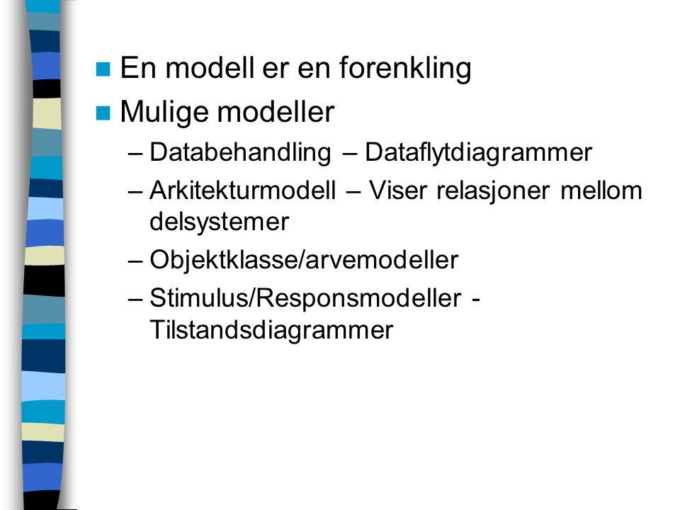 En modell er en forenkling Mulige modeller –Databehandling – Dataflytdiagrammer –Arkitekturmodell – Viser relasjoner mellom delsystemer –Objektklasse/arvemodeller –Stimulus/Responsmodeller - Tilstandsdiagrammer