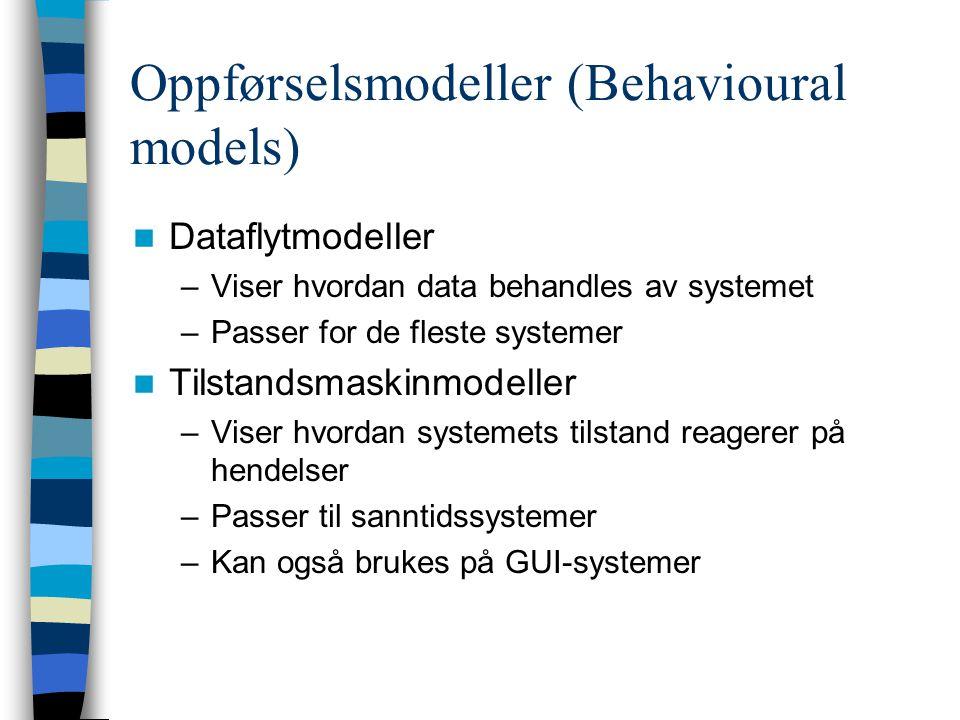 Oppførselsmodeller (Behavioural models) Dataflytmodeller –Viser hvordan data behandles av systemet –Passer for de fleste systemer Tilstandsmaskinmodeller –Viser hvordan systemets tilstand reagerer på hendelser –Passer til sanntidssystemer –Kan også brukes på GUI-systemer
