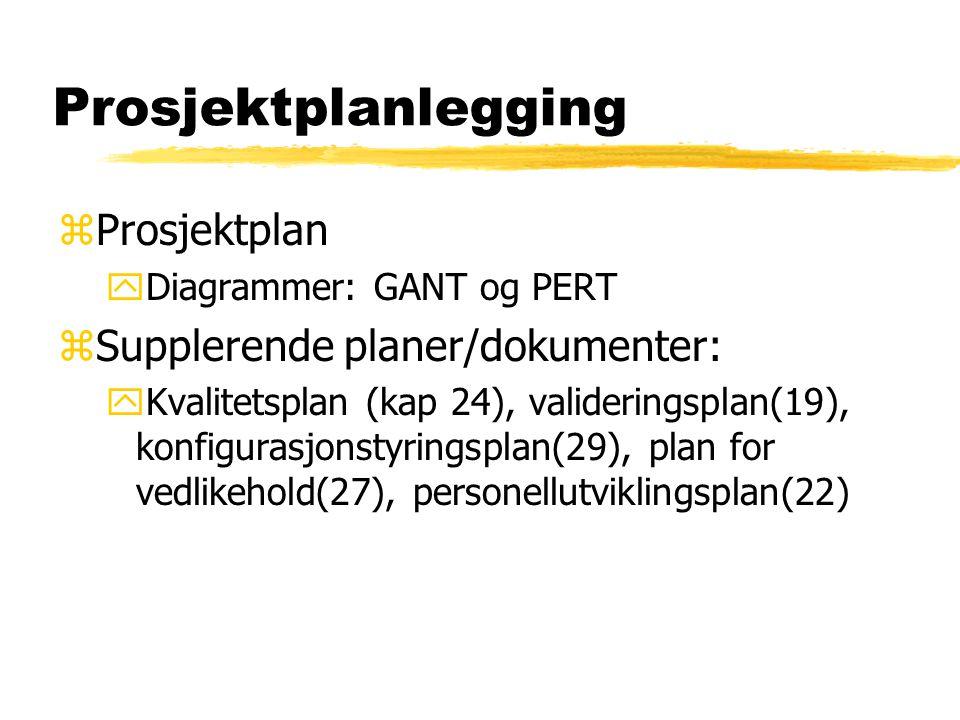 Prosjektplanlegging zProsjektplan yDiagrammer: GANT og PERT zSupplerende planer/dokumenter: yKvalitetsplan (kap 24), valideringsplan(19), konfigurasjo
