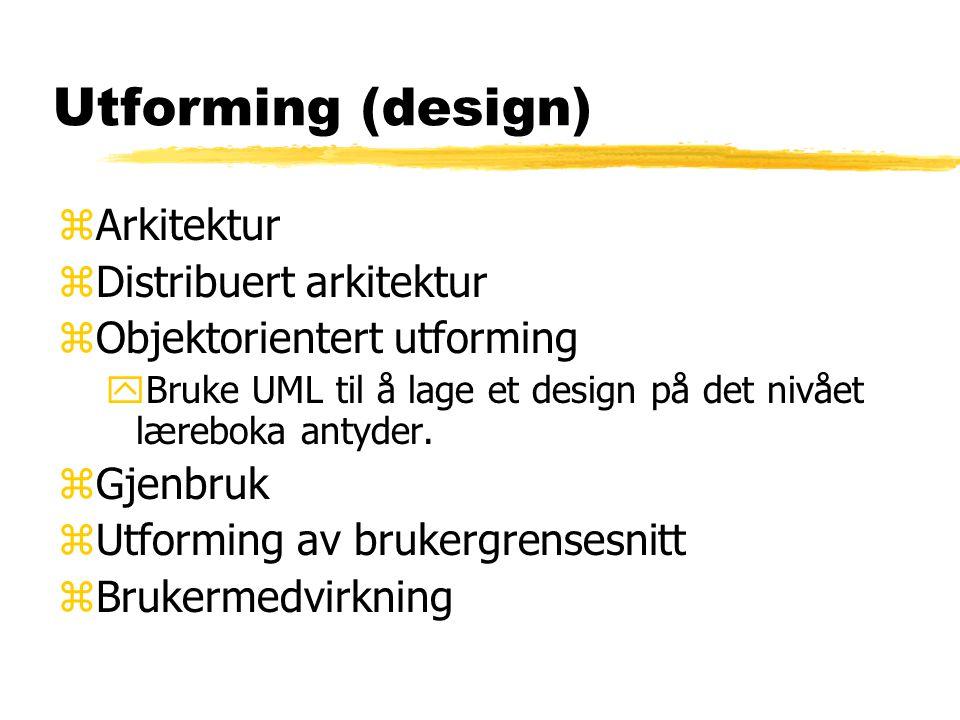 Utforming (design) zArkitektur zDistribuert arkitektur zObjektorientert utforming yBruke UML til å lage et design på det nivået læreboka antyder. zGje