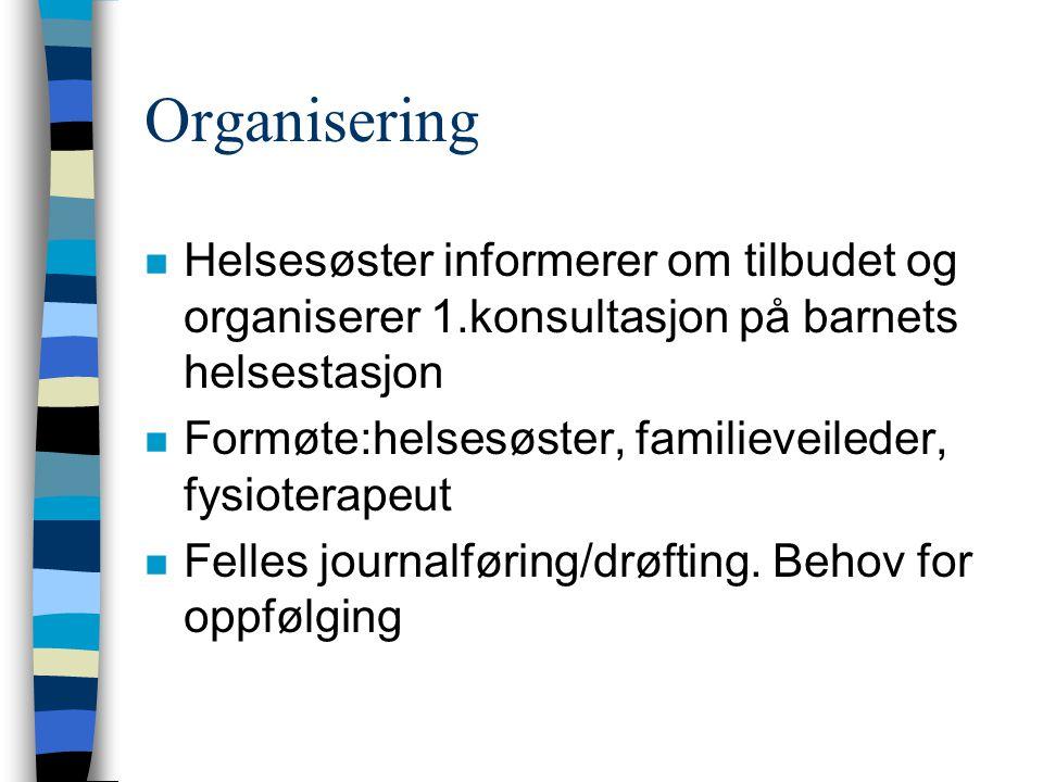 Organisering n Helsesøster informerer om tilbudet og organiserer 1.konsultasjon på barnets helsestasjon n Formøte:helsesøster, familieveileder, fysiot
