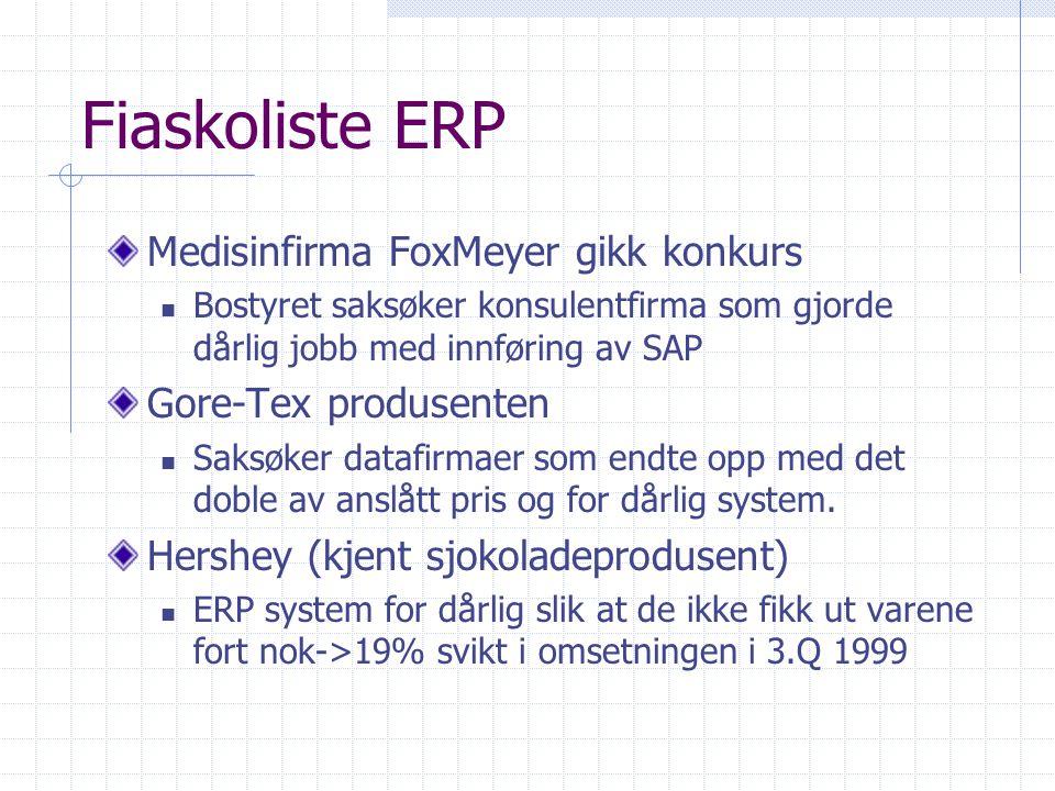Fiaskoliste ERP Medisinfirma FoxMeyer gikk konkurs Bostyret saksøker konsulentfirma som gjorde dårlig jobb med innføring av SAP Gore-Tex produsenten S