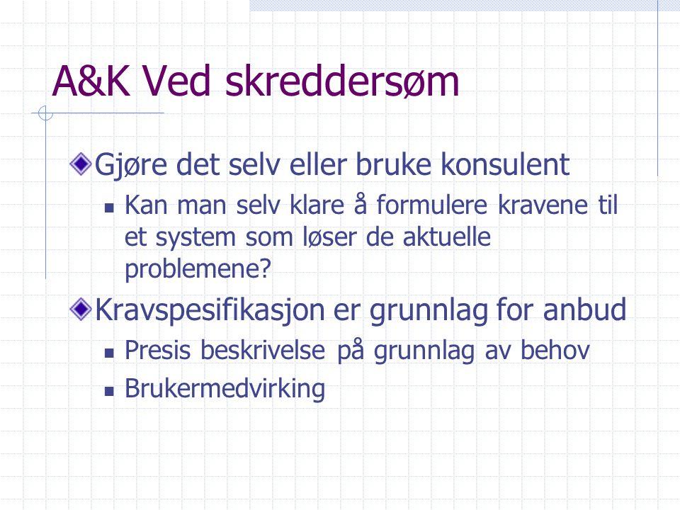 A&K Ved skreddersøm Gjøre det selv eller bruke konsulent Kan man selv klare å formulere kravene til et system som løser de aktuelle problemene? Kravsp