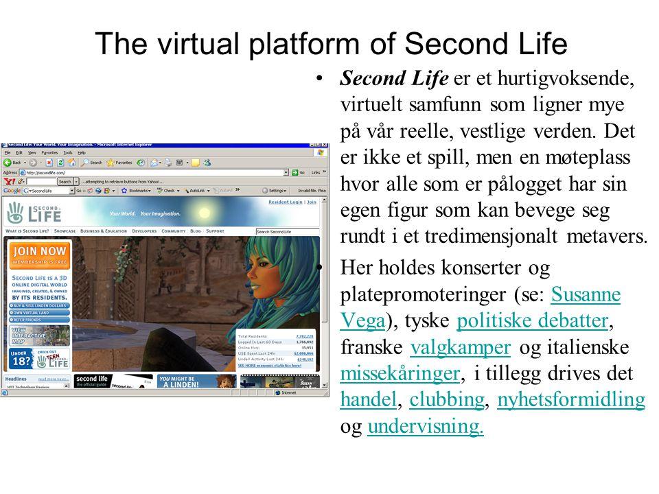 The virtual platform of Second Life Second Life er et hurtigvoksende, virtuelt samfunn som ligner mye på vår reelle, vestlige verden.