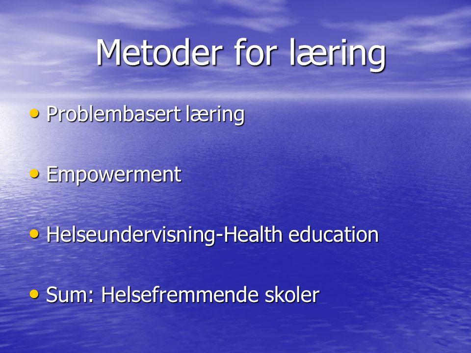 Metoder for læring Metoder for læring Problembasert læring Problembasert læring Empowerment Empowerment Helseundervisning-Health education Helseunderv
