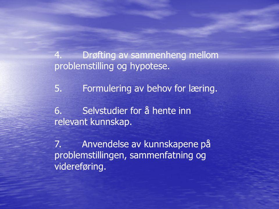 4. Drøfting av sammenheng mellom problemstilling og hypotese. 5. Formulering av behov for læring. 6. Selvstudier for å hente inn relevant kunnskap. 7.