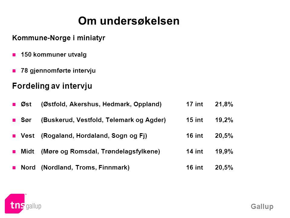 Om undersøkelsen Kommune-Norge i miniatyr 150 kommuner utvalg 78 gjennomførte intervju Fordeling av intervju Øst (Østfold, Akershus, Hedmark, Oppland)17 int21,8% Sør(Buskerud, Vestfold, Telemark og Agder)15 int19,2% Vest (Rogaland, Hordaland, Sogn og Fj)16 int20,5% Midt(Møre og Romsdal, Trøndelagsfylkene)14 int19,9% Nord(Nordland, Troms, Finnmark)16 int20,5%