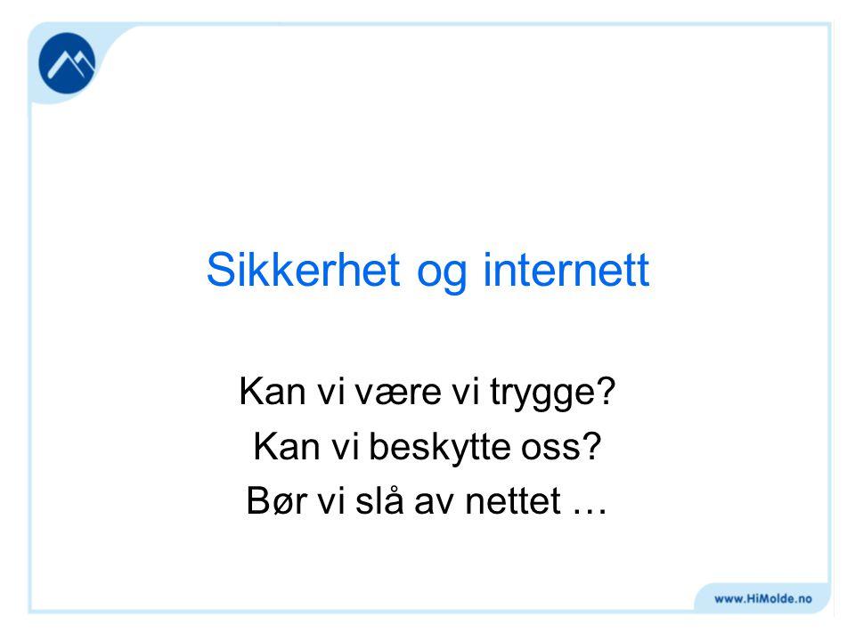 Sikkerhet og internett Kan vi være vi trygge Kan vi beskytte oss Bør vi slå av nettet …