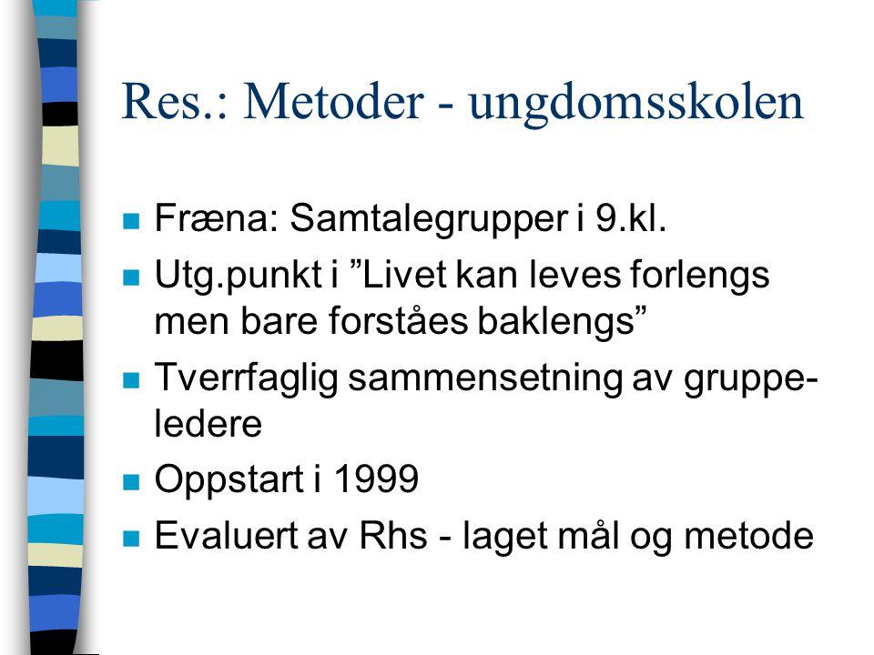 Res: Metode - ungdomsskolen n Molde: Samtalegrupper i 8.kl.