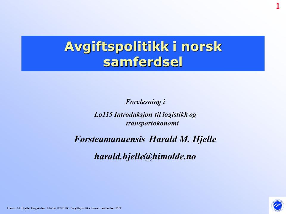 Harald M. Hjelle, Høgskolen i Molde, 09.09.04 Avgiftspolitikk i norsk samferdsel..PPT 1 Avgiftspolitikk i norsk samferdsel Forelesning i Lo115 Introdu