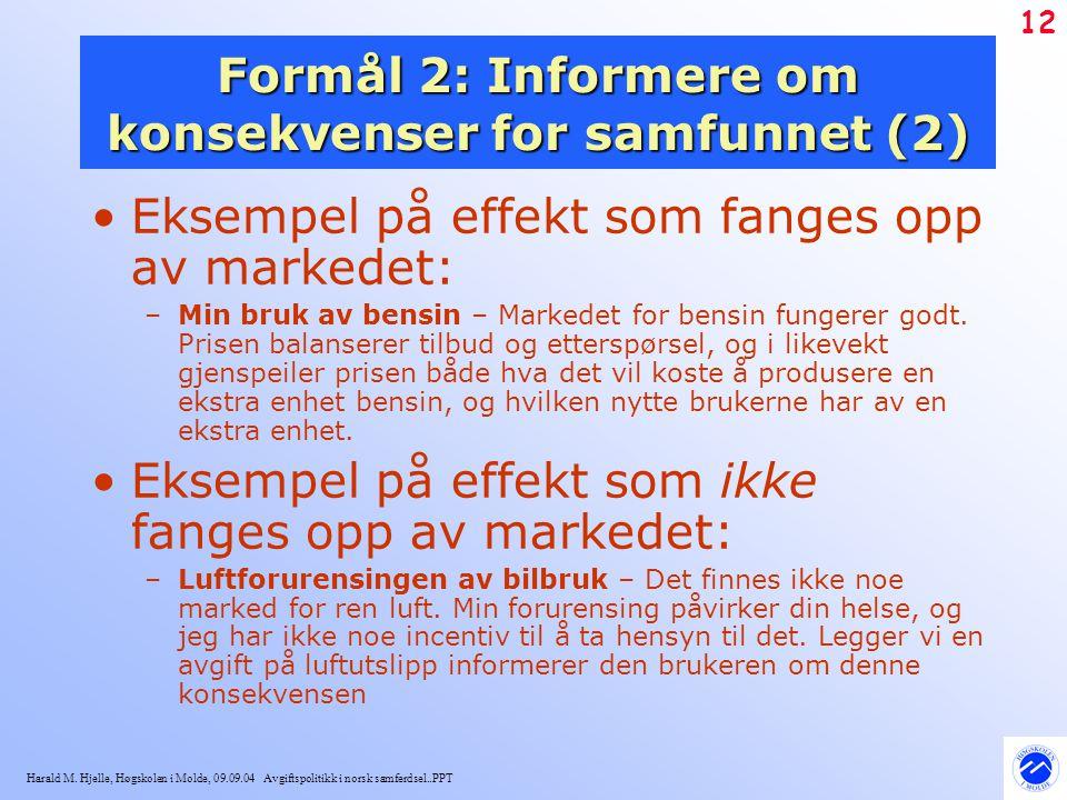 Harald M. Hjelle, Høgskolen i Molde, 09.09.04 Avgiftspolitikk i norsk samferdsel..PPT 12 Formål 2: Informere om konsekvenser for samfunnet (2) Eksempe