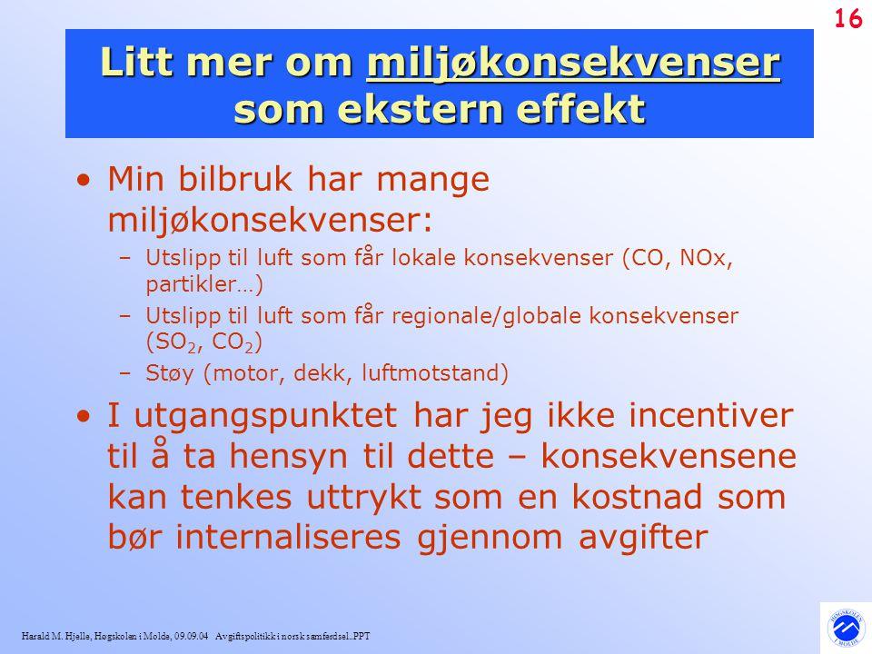 Harald M. Hjelle, Høgskolen i Molde, 09.09.04 Avgiftspolitikk i norsk samferdsel..PPT 16 Litt mer om miljøkonsekvenser som ekstern effekt Min bilbruk