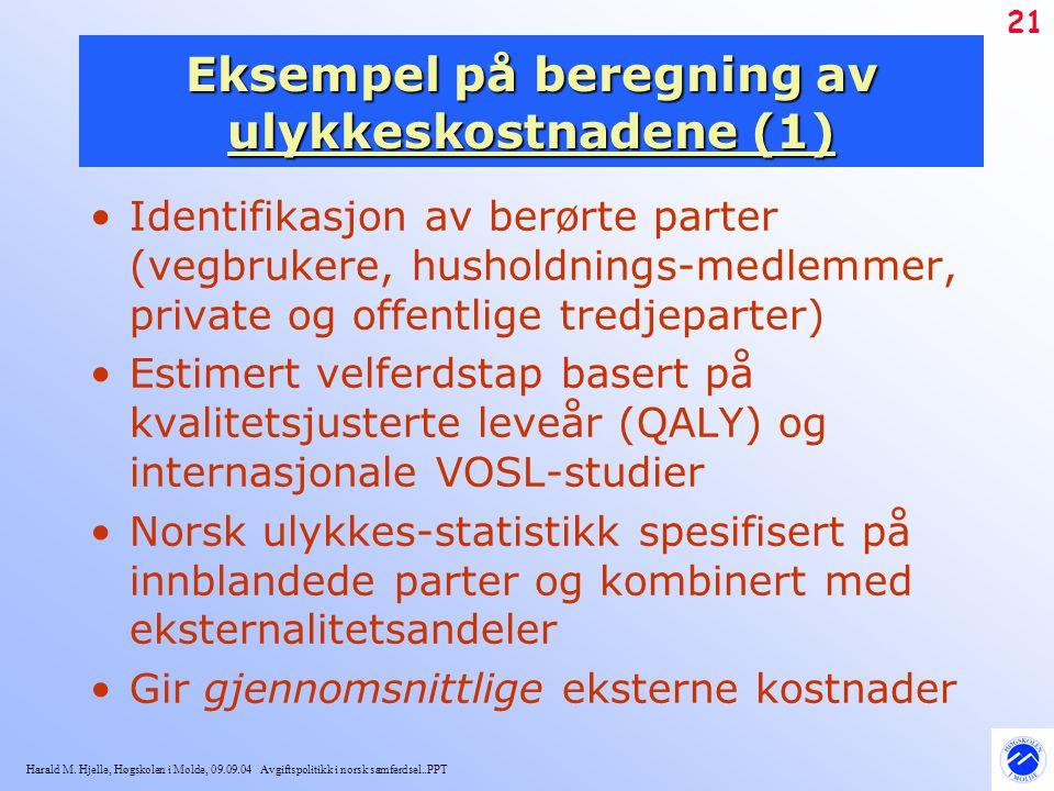 Harald M. Hjelle, Høgskolen i Molde, 09.09.04 Avgiftspolitikk i norsk samferdsel..PPT 21 Eksempel på beregning av ulykkeskostnadene (1) Identifikasjon