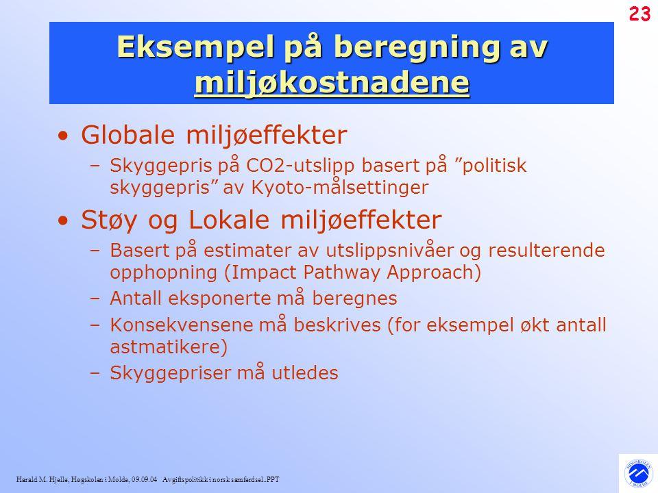 Harald M. Hjelle, Høgskolen i Molde, 09.09.04 Avgiftspolitikk i norsk samferdsel..PPT 23 Eksempel på beregning av miljøkostnadene Globale miljøeffekte