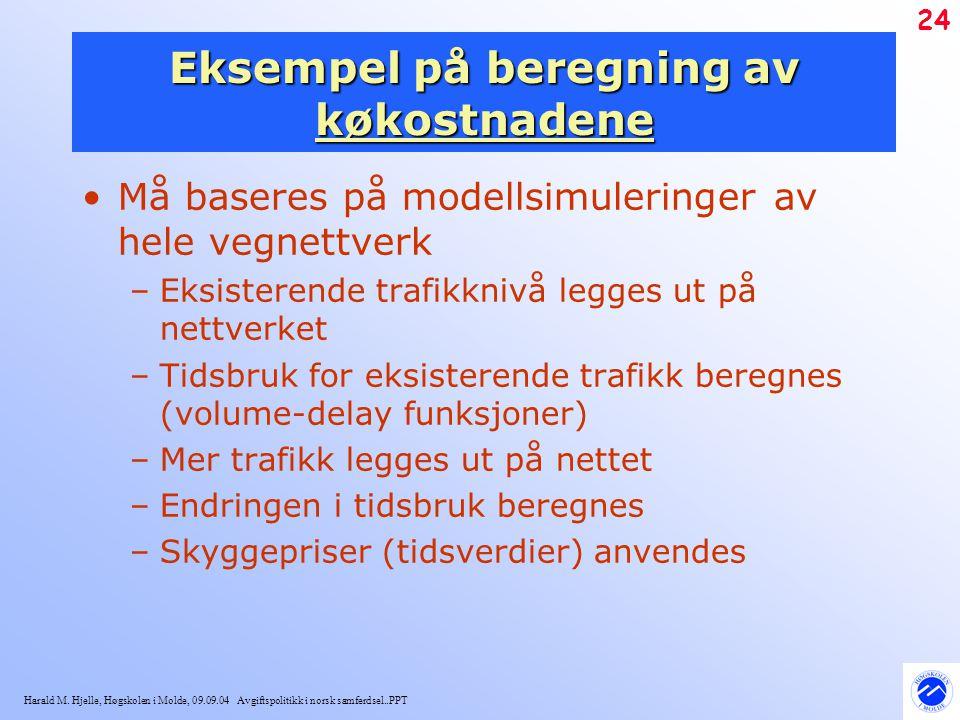 Harald M. Hjelle, Høgskolen i Molde, 09.09.04 Avgiftspolitikk i norsk samferdsel..PPT 24 Eksempel på beregning av køkostnadene Må baseres på modellsim
