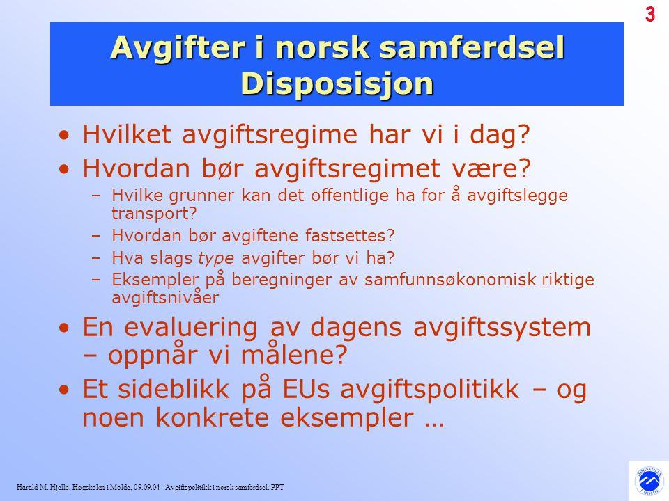 Harald M. Hjelle, Høgskolen i Molde, 09.09.04 Avgiftspolitikk i norsk samferdsel..PPT 3 Avgifter i norsk samferdsel Disposisjon Hvilket avgiftsregime