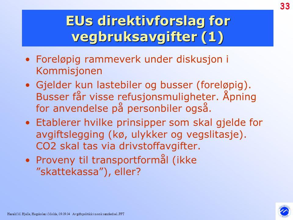 Harald M. Hjelle, Høgskolen i Molde, 09.09.04 Avgiftspolitikk i norsk samferdsel..PPT 33 EUs direktivforslag for vegbruksavgifter (1) Foreløpig rammev