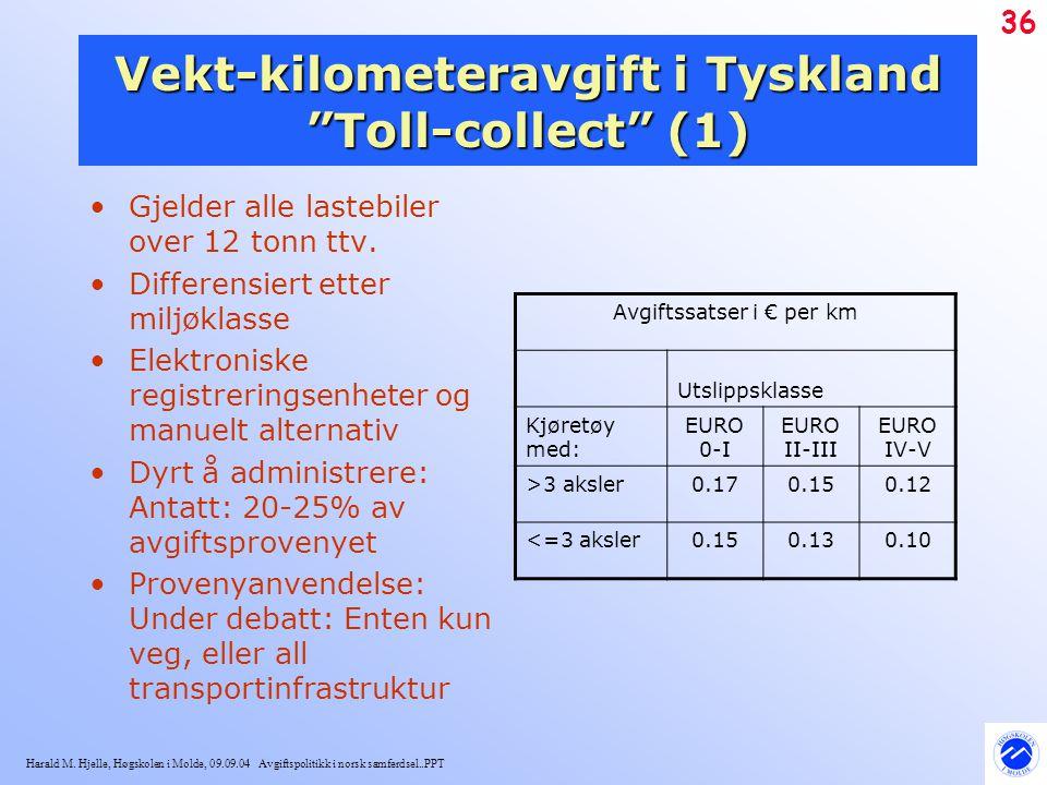 """Harald M. Hjelle, Høgskolen i Molde, 09.09.04 Avgiftspolitikk i norsk samferdsel..PPT 36 Vekt-kilometeravgift i Tyskland """"Toll-collect"""" (1) Gjelder al"""