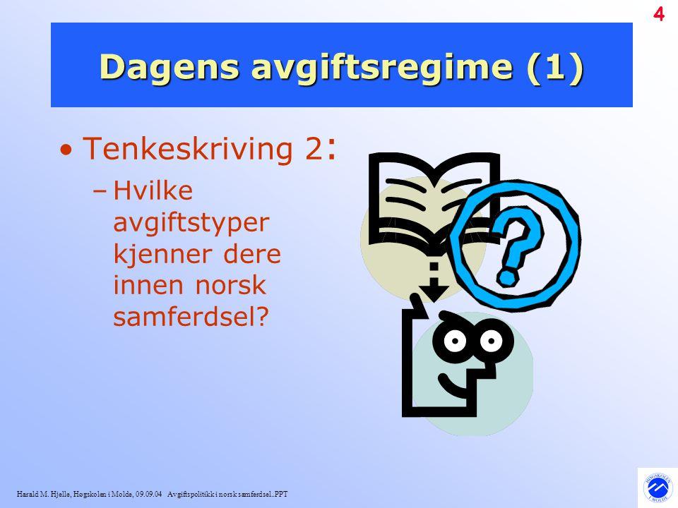 Harald M. Hjelle, Høgskolen i Molde, 09.09.04 Avgiftspolitikk i norsk samferdsel..PPT 4 Dagens avgiftsregime (1) Tenkeskriving 2 : –Hvilke avgiftstype