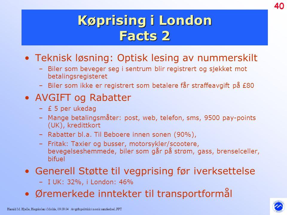 Harald M. Hjelle, Høgskolen i Molde, 09.09.04 Avgiftspolitikk i norsk samferdsel..PPT 40 Køprising i London Facts 2 Teknisk løsning: Optisk lesing av