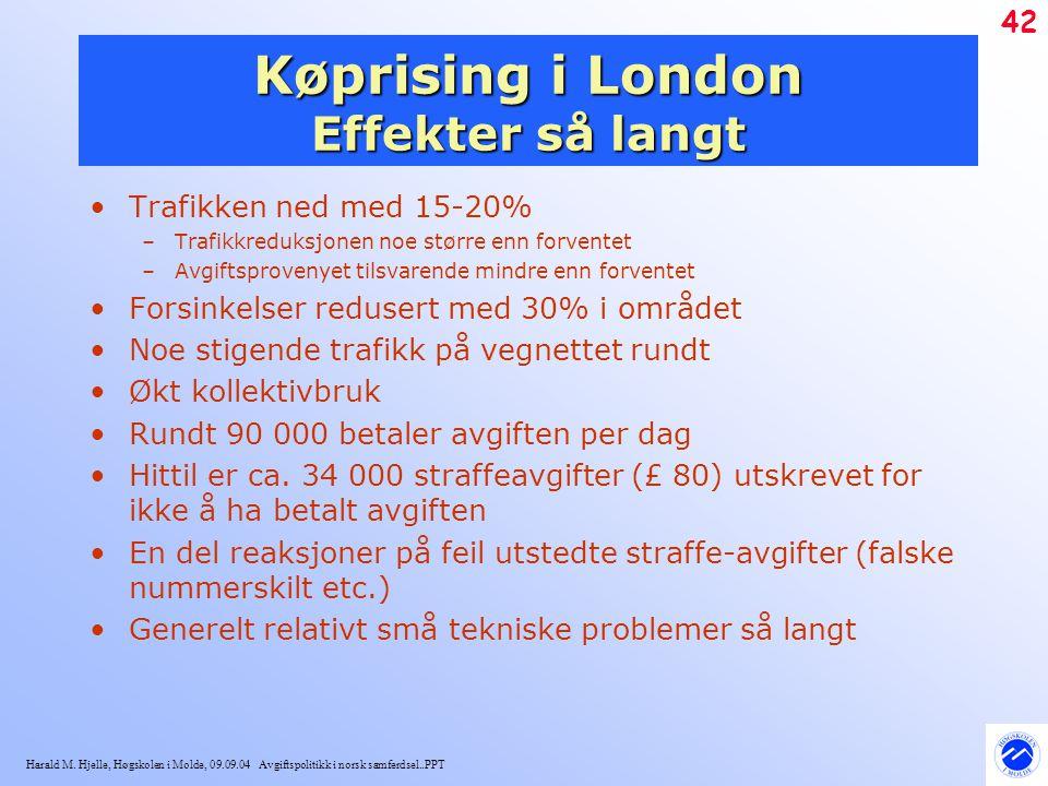 Harald M. Hjelle, Høgskolen i Molde, 09.09.04 Avgiftspolitikk i norsk samferdsel..PPT 42 Køprising i London Effekter så langt Trafikken ned med 15-20%