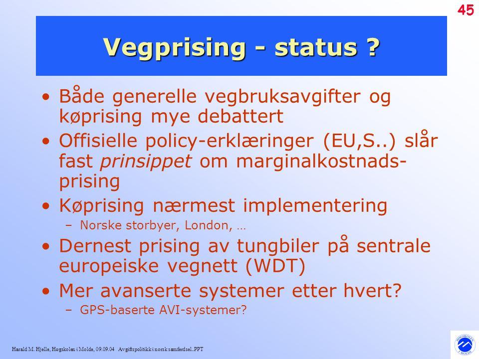 Harald M. Hjelle, Høgskolen i Molde, 09.09.04 Avgiftspolitikk i norsk samferdsel..PPT 45 Vegprising - status ? Både generelle vegbruksavgifter og køpr