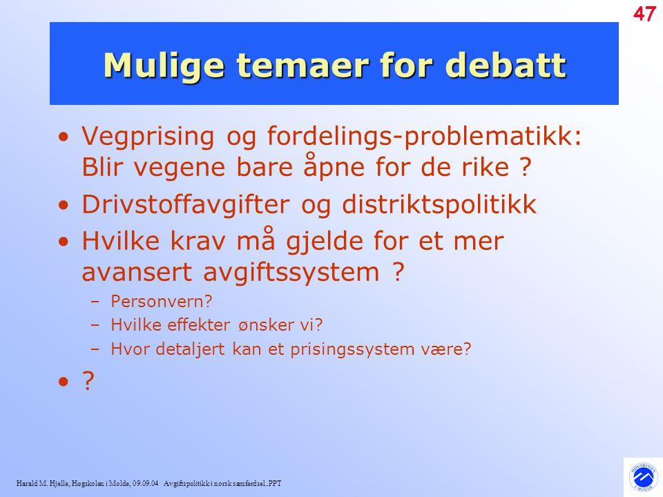 Harald M. Hjelle, Høgskolen i Molde, 09.09.04 Avgiftspolitikk i norsk samferdsel..PPT 47 Mulige temaer for debatt Vegprising og fordelings-problematik