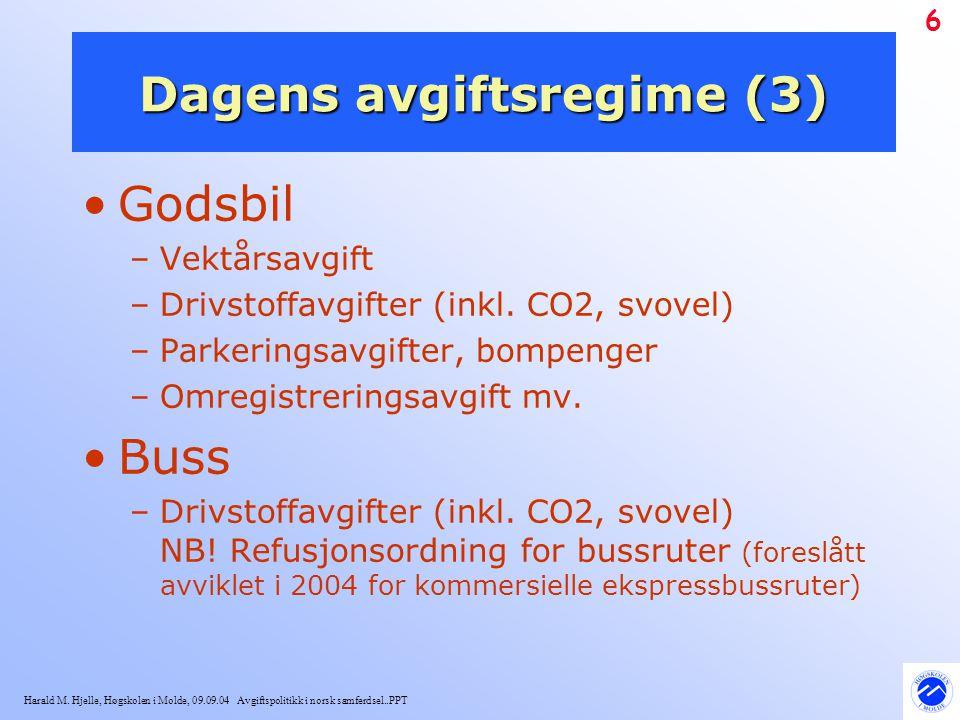Harald M. Hjelle, Høgskolen i Molde, 09.09.04 Avgiftspolitikk i norsk samferdsel..PPT 6 Dagens avgiftsregime (3) Godsbil –Vektårsavgift –Drivstoffavgi