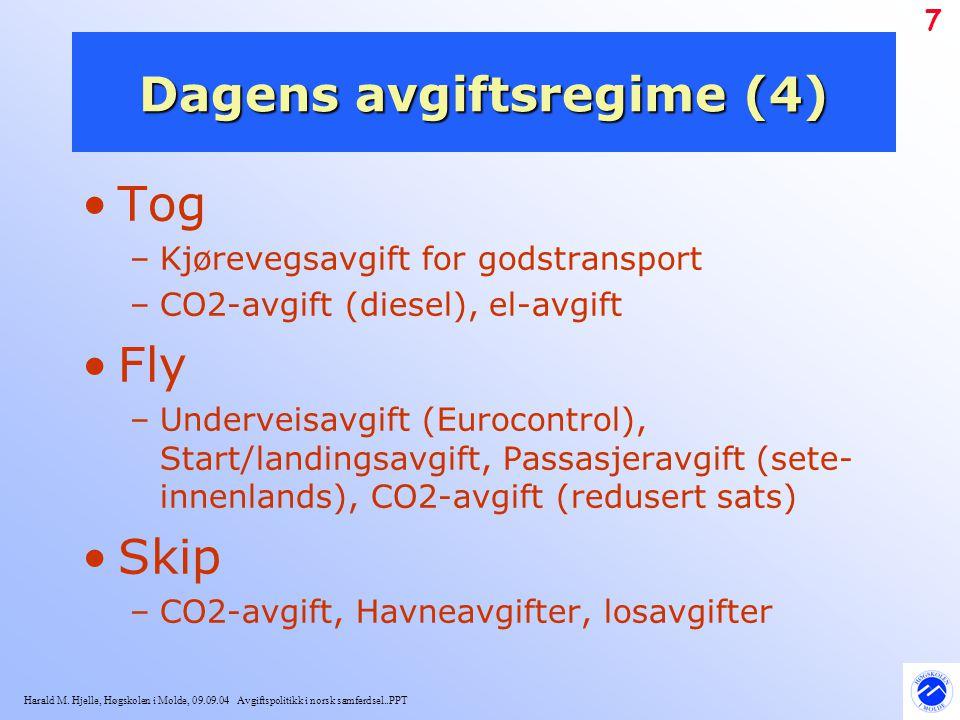 Harald M. Hjelle, Høgskolen i Molde, 09.09.04 Avgiftspolitikk i norsk samferdsel..PPT 7 Dagens avgiftsregime (4) Tog –Kjørevegsavgift for godstranspor