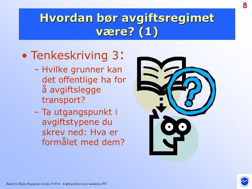Harald M. Hjelle, Høgskolen i Molde, 09.09.04 Avgiftspolitikk i norsk samferdsel..PPT 8 Hvordan bør avgiftsregimet være? (1) Tenkeskriving 3 : –Hvilke