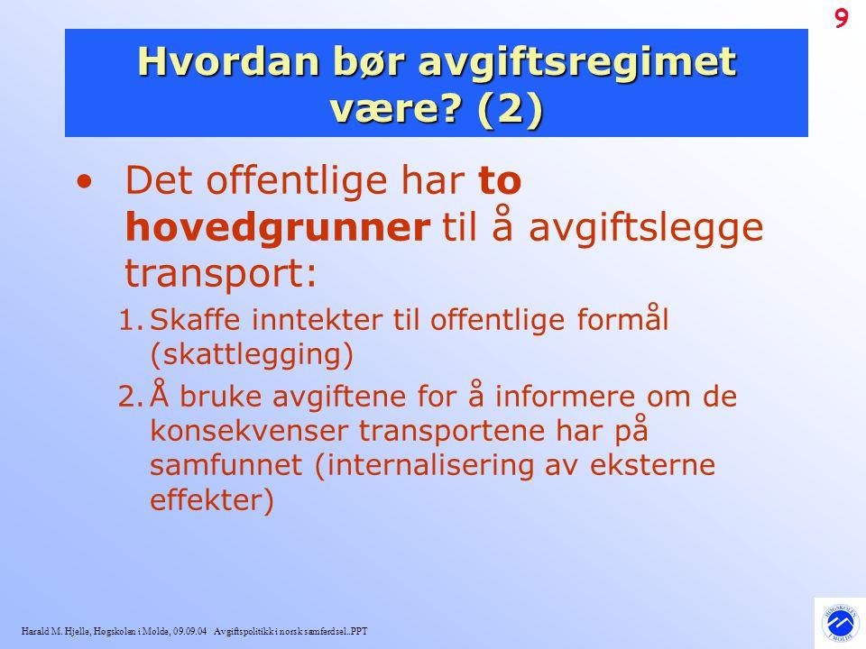 Harald M. Hjelle, Høgskolen i Molde, 09.09.04 Avgiftspolitikk i norsk samferdsel..PPT 9 Hvordan bør avgiftsregimet være? (2) Det offentlige har to hov