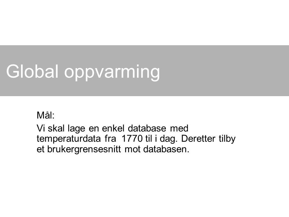Global oppvarming Mål: Vi skal lage en enkel database med temperaturdata fra 1770 til i dag.