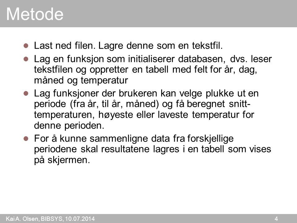 Kai A. Olsen, BIBSYS, 10.07.2014 4 Metode Last ned filen.