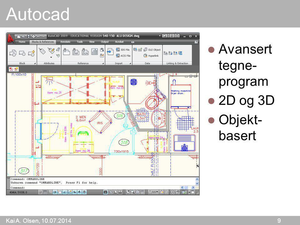 Kai A. Olsen, 10.07.2014 9 Autocad Avansert tegne- program 2D og 3D Objekt- basert