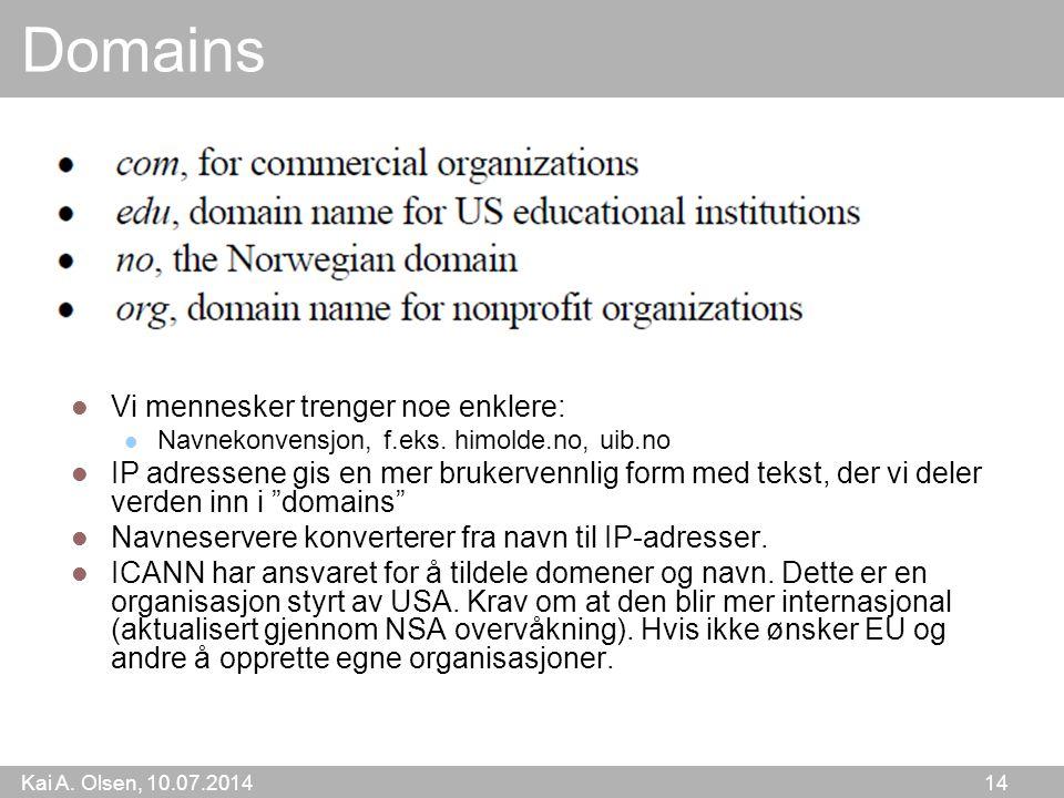 Kai A. Olsen, 10.07.2014 14 Domains Vi mennesker trenger noe enklere: Navnekonvensjon, f.eks.