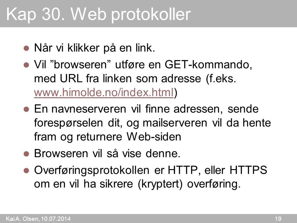 Kai A. Olsen, 10.07.2014 19 Kap 30. Web protokoller Når vi klikker på en link.