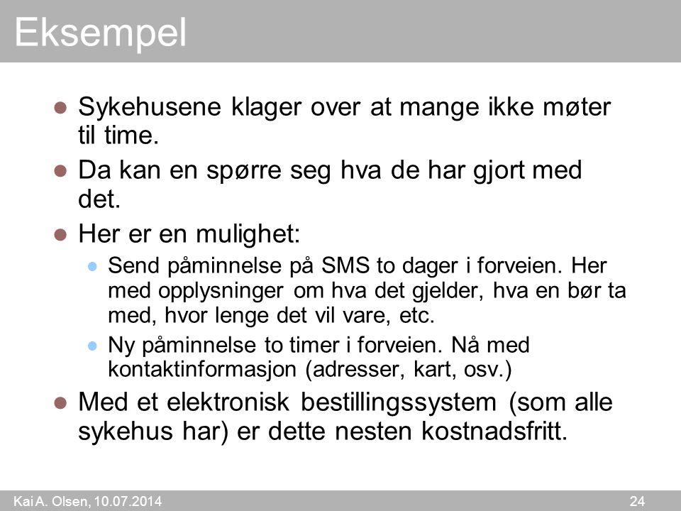 Kai A. Olsen, 10.07.2014 24 Eksempel Sykehusene klager over at mange ikke møter til time.