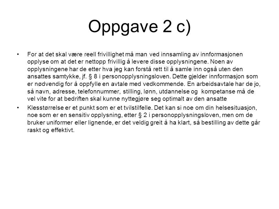 Oppgave 2 d)