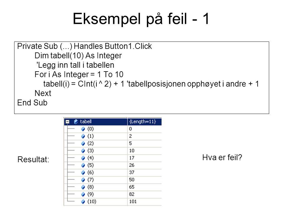 Logisk feil – eksempel 3 Private Sub btnTest_Click(...) Handles btnTest.Click Dim tabell() As String Try Dim sr As IO.StreamReader = IO.File.OpenText( C:\test.txt ) Dim i As Integer Do While sr.Peek <> -1 i += 1 ReDim tabell(i) tabell(i) = sr.ReadLine sr.Close() Loop MsgBox( Det var & i & linjer i filen ) Catch ex As Exception MsgBox( Filen finnes ikke ) End Try End Sub