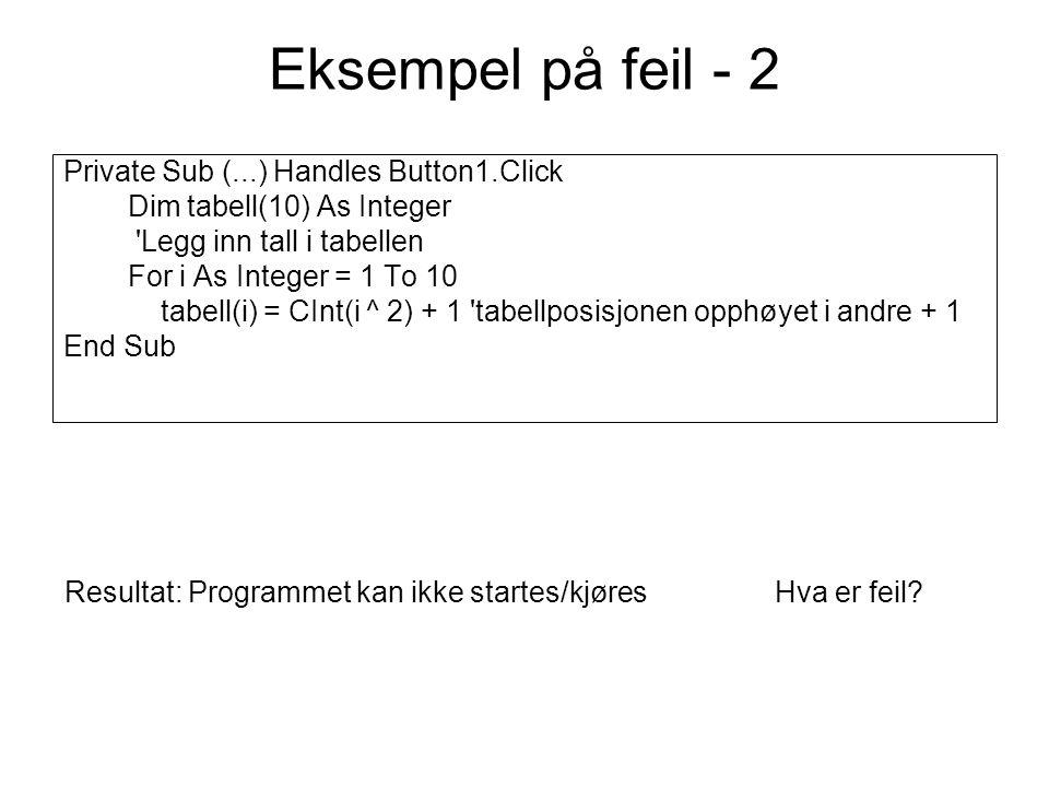 Eksempel på feil - 3 Private Sub btnTest_Click(...) Handles btnTest.Click Dim tabell() As String Dim sr As IO.StreamReader = IO.File.OpenText( C:\test.txt ) Dim i As Integer Do While sr.Peek <> -1 i += 1 ReDim tabell(i) tabell(i) = sr.ReadLine Loop MsgBox( Det var & i & linjer i filen ) sr.close() End Sub Resultat: Hva er feil?