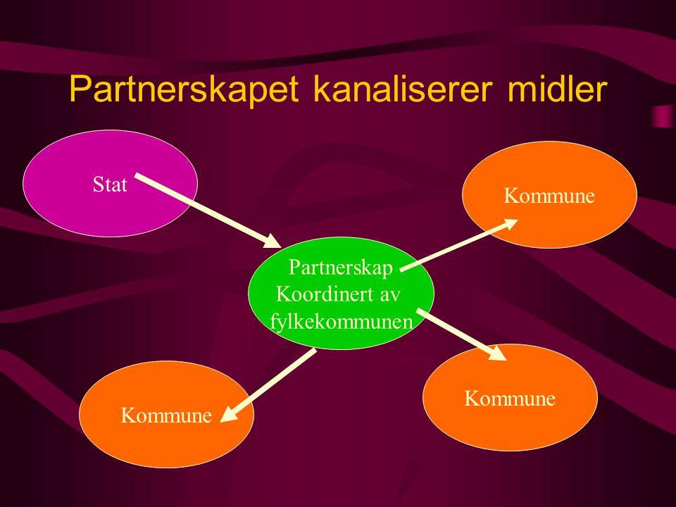 Partnerskapet kanaliserer midler Stat Partnerskap Koordinert av fylkekommunen Kommune