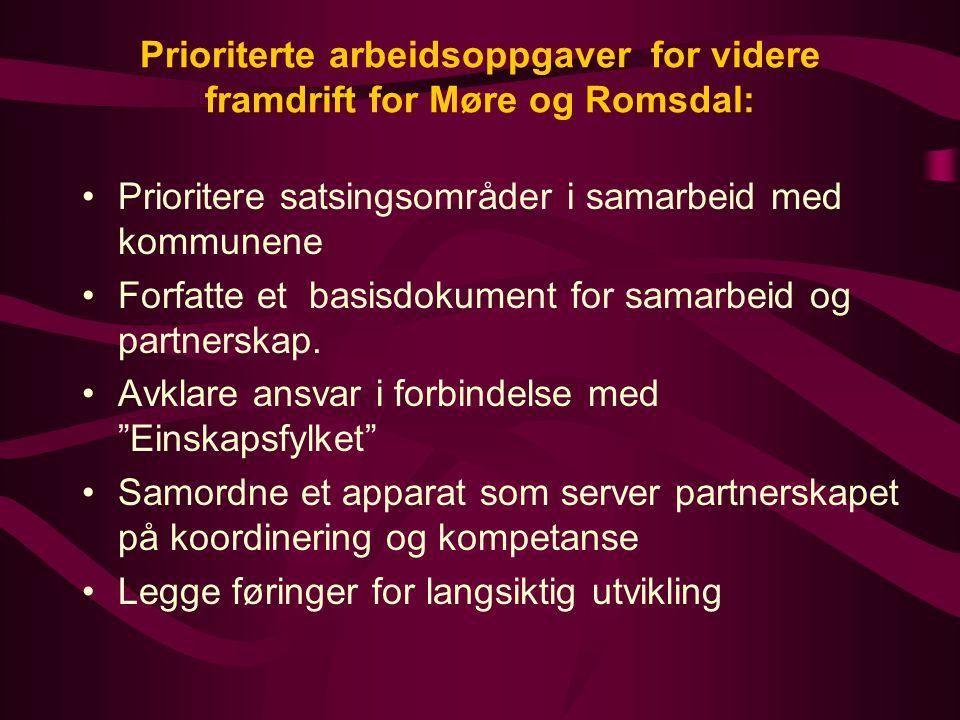 Prioriterte arbeidsoppgaver for videre framdrift for Møre og Romsdal: Prioritere satsingsområder i samarbeid med kommunene Forfatte et basisdokument for samarbeid og partnerskap.