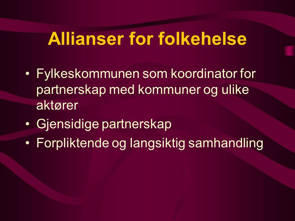 Allianser for folkehelse Fylkeskommunen som koordinator for partnerskap med kommuner og ulike aktører Gjensidige partnerskap Forpliktende og langsiktig samhandling